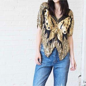 Vintage Silk Gold Sequin Butterfly Crop Top